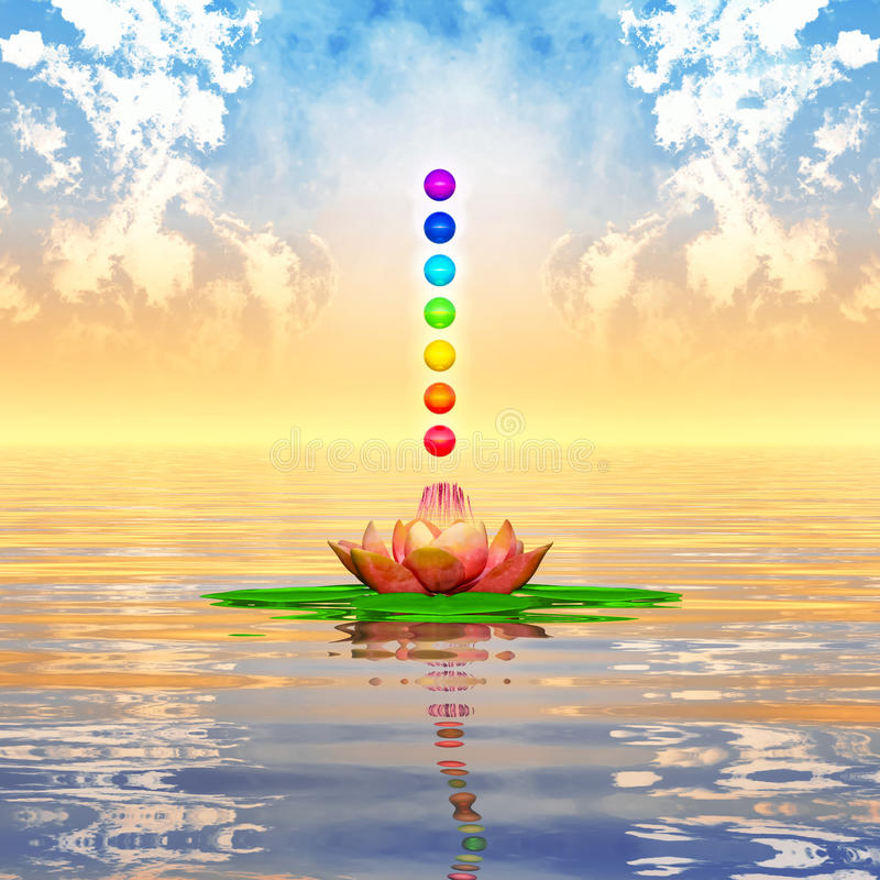 Sacred Lotus And Chakra Spheres stock illustration