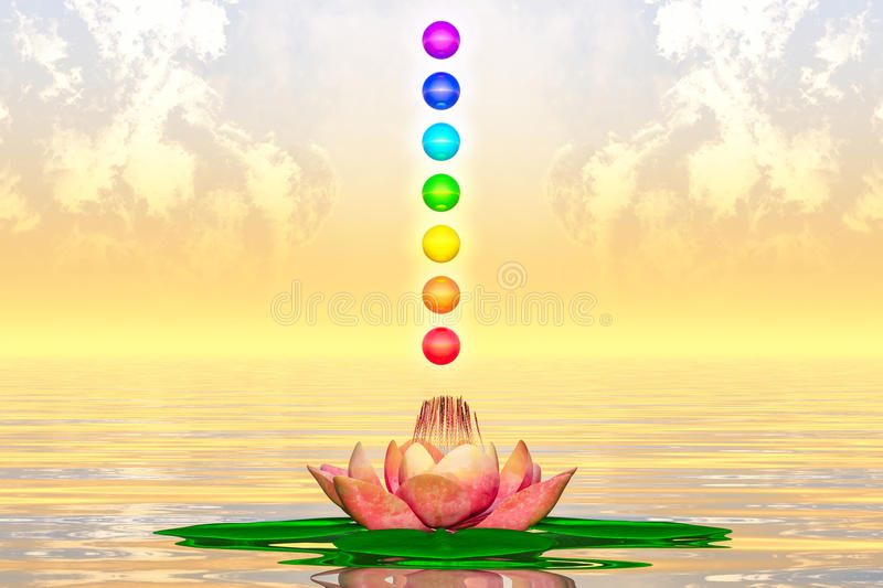 Sacred Lotus And Chakra Spheres royalty free illustration