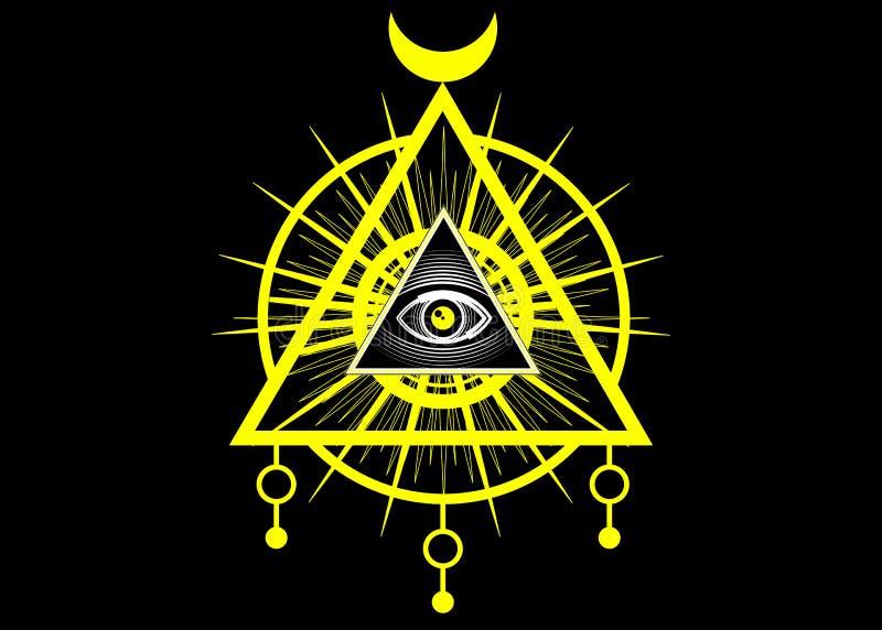 Sacred Masonic symbol. All Seeing eye, the third eye The Eye of Providence inside triangle pyramid. New World Order vector illustration