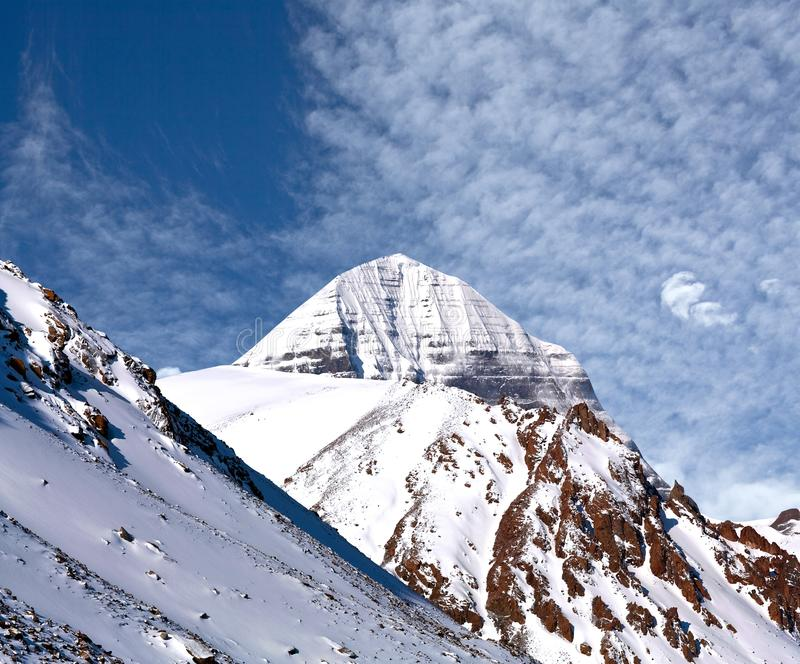 Sacred mount Kailash. Elevation 6638 m, which are part of the Transhimalaya in Tibet. It is considered a sacred place in four religions: Bon, Buddhism royalty free stock image