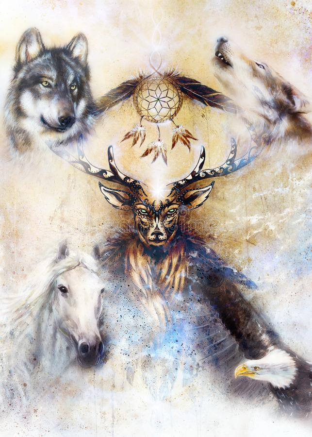 Sacred ornamental deer spirit with dream catcher symbol and feathers and wolf, horse, eagle in cosmic space. Sacred ornamental deer spirit with dream catcher stock illustration