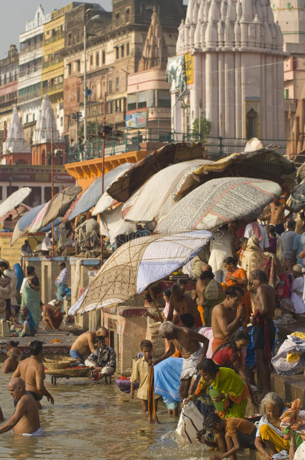 Sacred River. Crowds of people bathing in the River Ganges in the sacred city of Varanasi, Uttar Pradesh, India royalty free stock photography