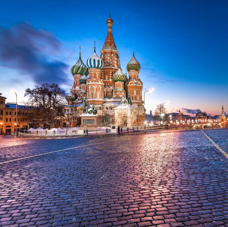 SACRED SAINT BASILS CATHEDRAL OF MOSCOW AT SUNRICE royalty free stock image