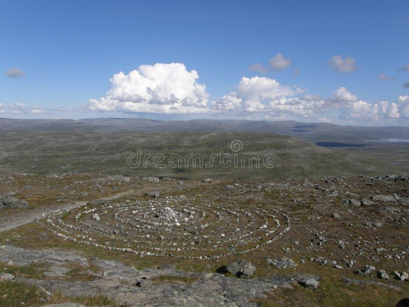 Sacred Sami circle in Lapland. Sacred Sami circle on the top of Saana mountain, Lapland, Finland (Kilpisjarvi area royalty free stock image