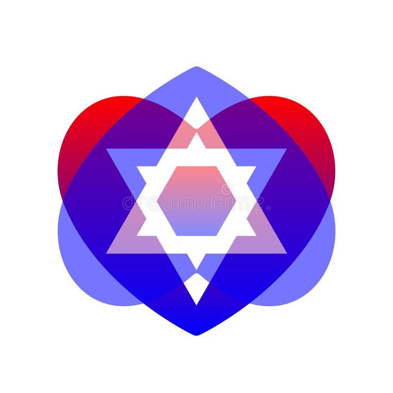 Sacred symbol star of david in heart. Shield of david. Magen illustration, icon vector illustration