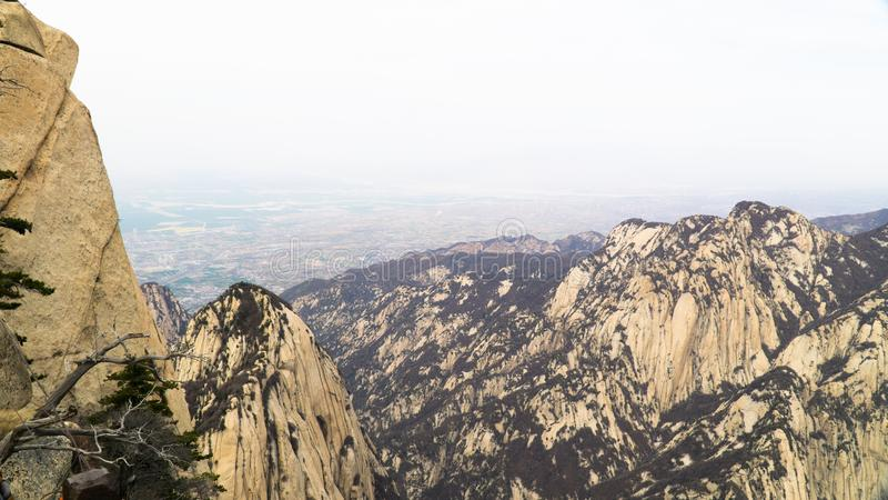 Sacred taoist mountain Mount Huashan, popular touristic place with five main peaks, China. Sacred taoist mountain Mount Huashan, popular touristic place with stock photography