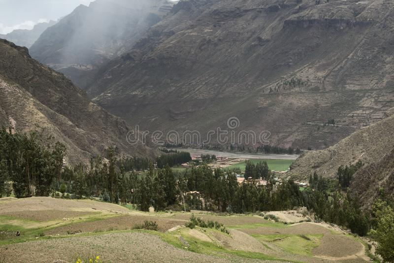 Sacred Valley Surrounded By High Mountains, Peru.  royalty free stock image