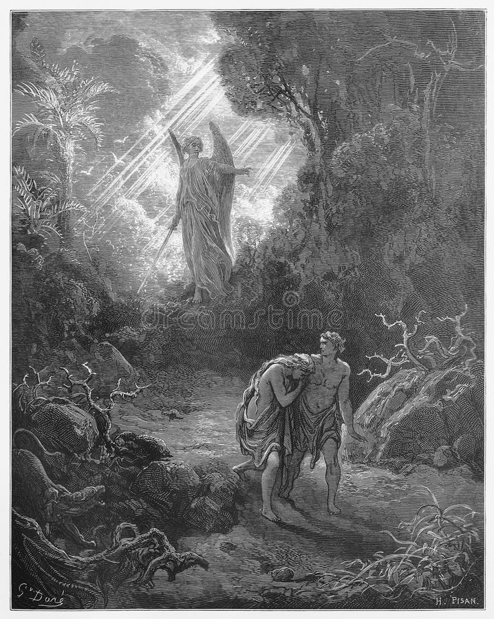 Sacrifices driven out of Eden. Picture from The Holy Scriptures, Old and New Testaments books collection published in 1885, Stuttgart-Germany. Drawings by