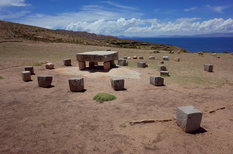 The sacrificial altar at the Chincana Ruins on the Isla del Sol on Lake Titicaca royalty free stock photo