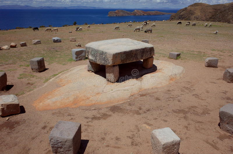 The sacrificial altar at the Chincana Ruins on the Isla del Sol on Lake Titicaca stock image