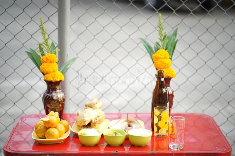 Sacrificial offering food for pray to god and memorial to ancestor in Chinese new year. Sacrificial offering food for pray to god and memorial to ancestor in royalty free stock photos