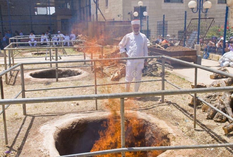 Sacrificio del Passover del samaritano fotografía de archivo