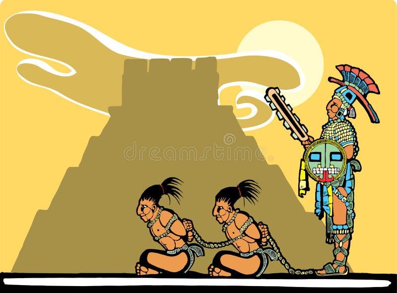 Sacrificios mayas stock de ilustración
