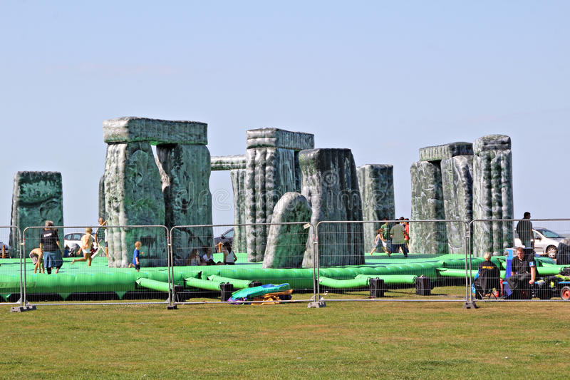 Sacrilege inflatable stonehenge. An inflatable stonehenge on tour by jeremy deller in whitstable kent on 5th september 2012, a festival of visual art across the stock photos