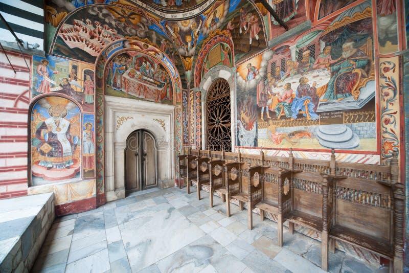 Sacristie du monastère de Rila en Bulgarie image libre de droits