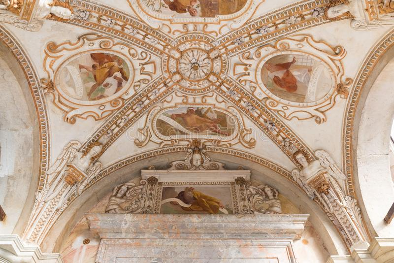 Sacro瓦雷泽圣玛丽亚del Monte,意大利Monte  老壁画17世纪 图库摄影