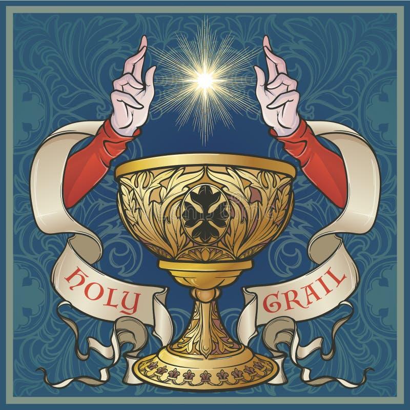 Sacro Graal Arte gotica medievale di concetto di stile illustrazione di stock