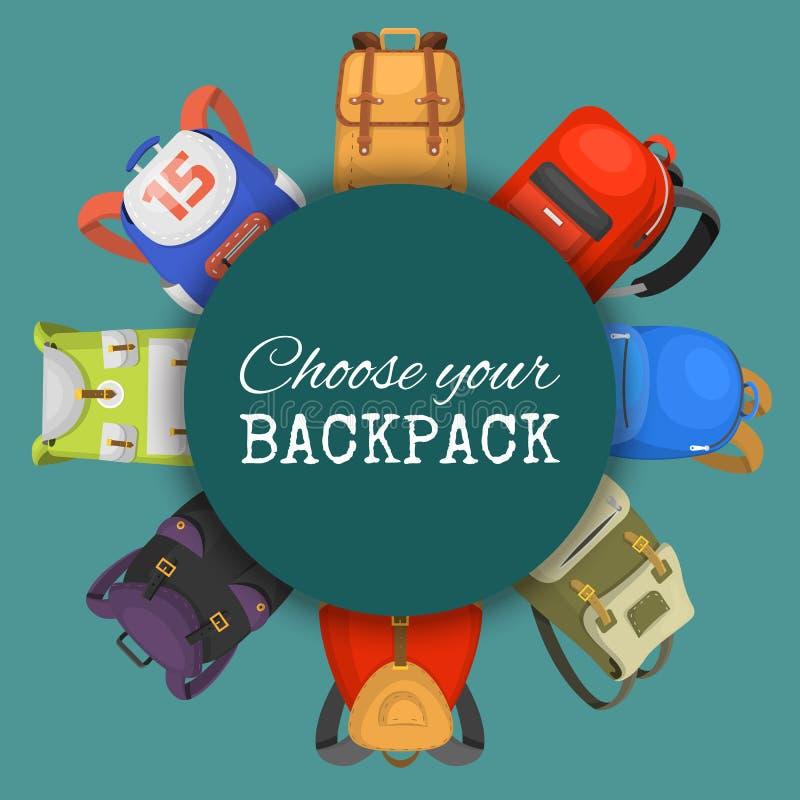 Sacs à dos colorés d'école réglés Choisissez votre bannière de sac à dos, affiche Éducation et étude de nouveau à l'école, bagage illustration de vecteur
