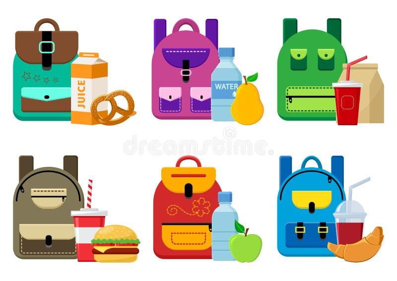 Sacs à dos d'école et nourriture de déjeuner Vecteur illustration libre de droits
