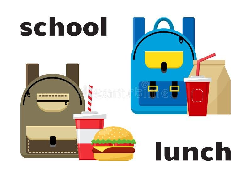 Sacs à dos d'école et nourriture de déjeuner Vecteur illustration de vecteur