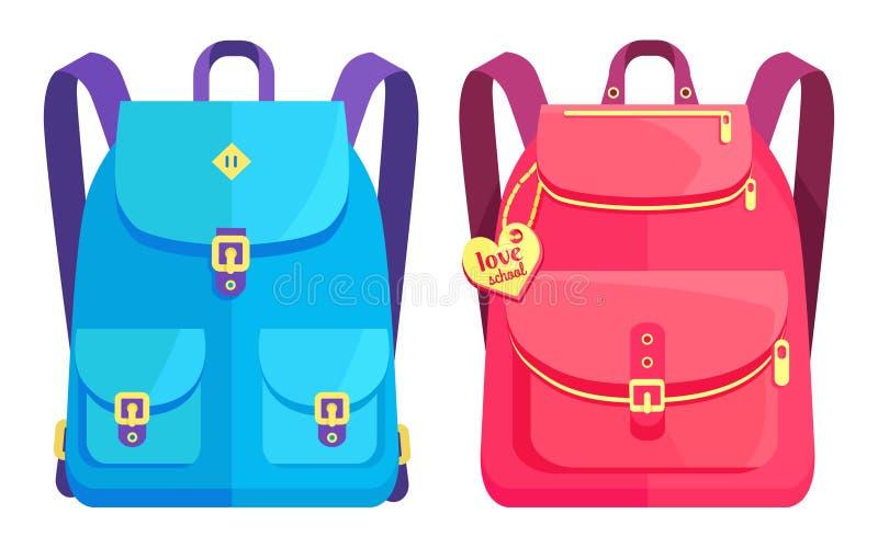 Sacs à dos unisexes dans bleu et rose avec des poches illustration libre de droits