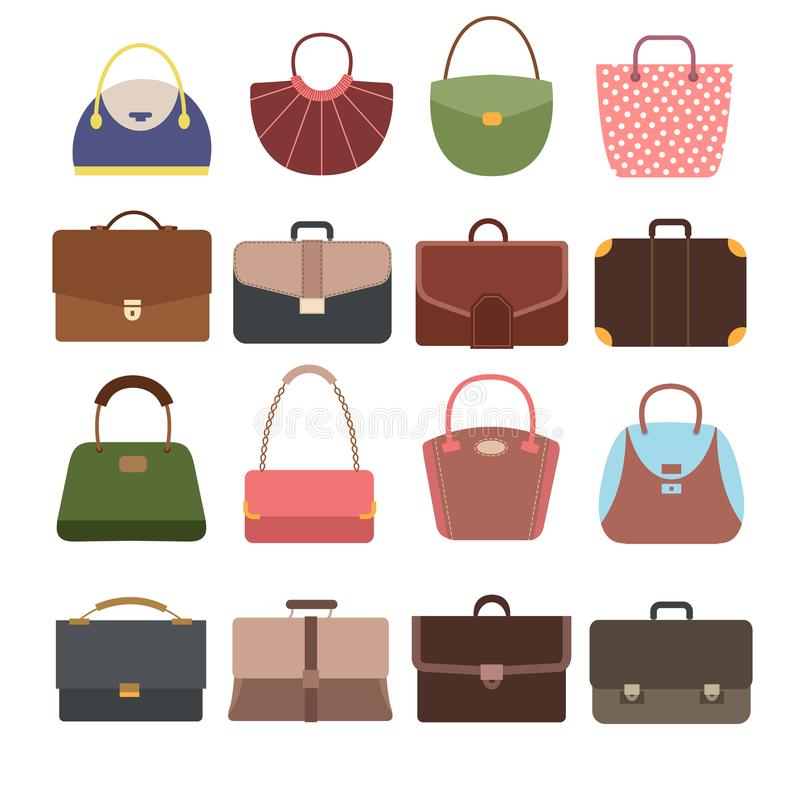 Sacs à main femelles et masculins Façonnez la bourse de dame et la collection de vecteur d'accessoires de sac d'isolement illustration stock