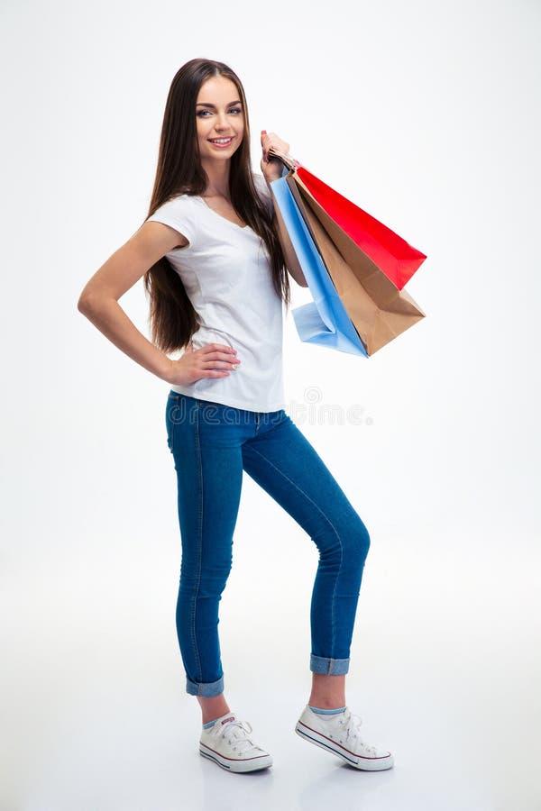 Sacs à provisions attrayants de fixation de femme images stock