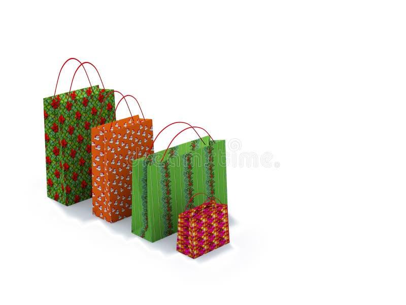 Sacs à provisions de Noël images libres de droits
