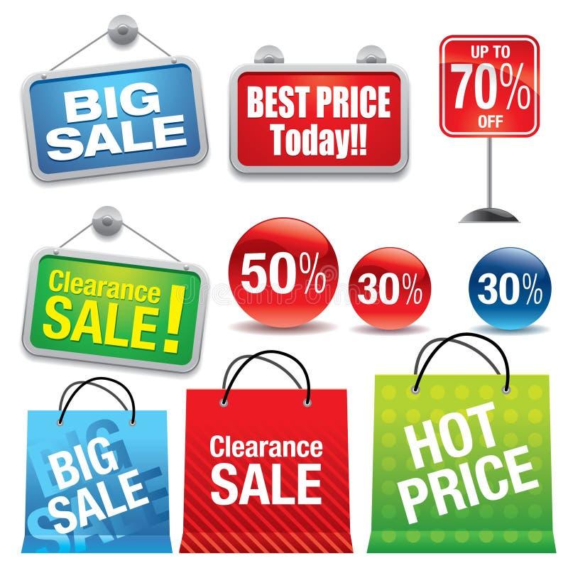 Sacs à provisions et signes de vente illustration stock