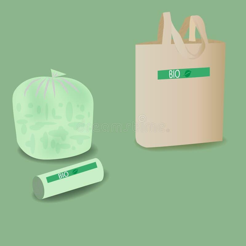 Sacs biodégradables de déchets et de transporteur Qui respecte l'environnement vivant photographie stock