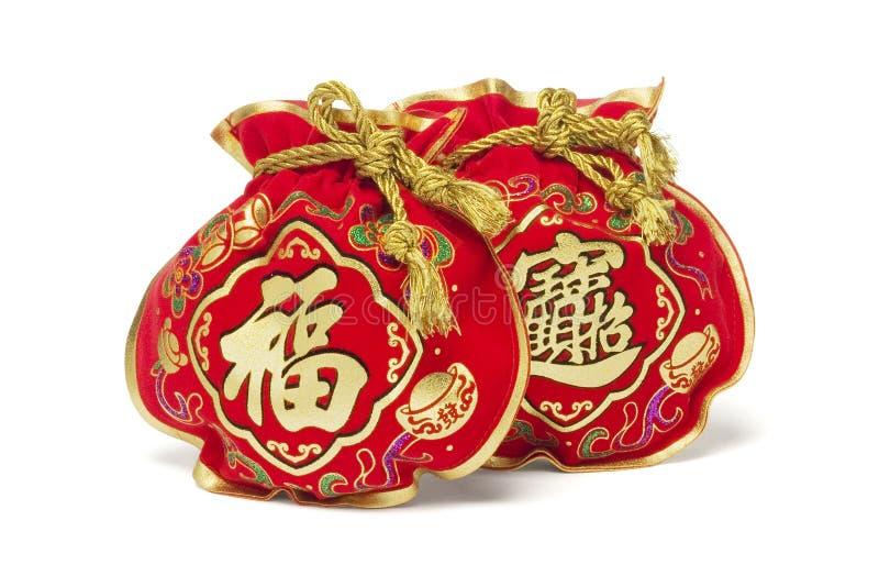 Sacs chinois de cadeau d'an neuf photographie stock