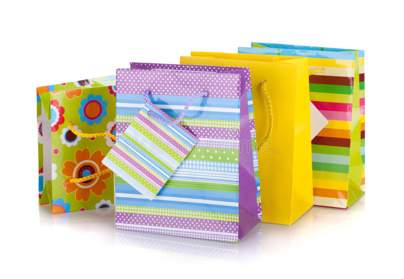 Sacs colorés de cadeau photo libre de droits