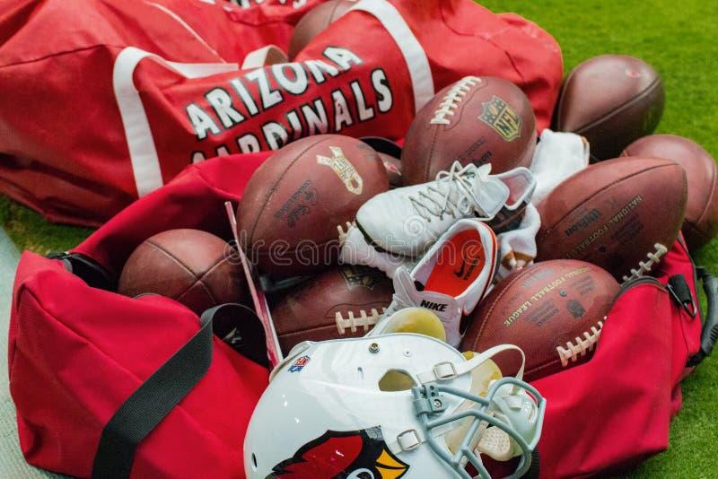 Sacs d'équipement du football d'Arizona Cardinals de NFL photo stock