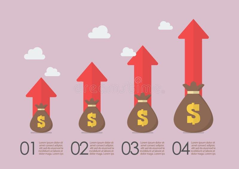 Sacs d'argent avec des flèches de croissance infographic illustration de vecteur