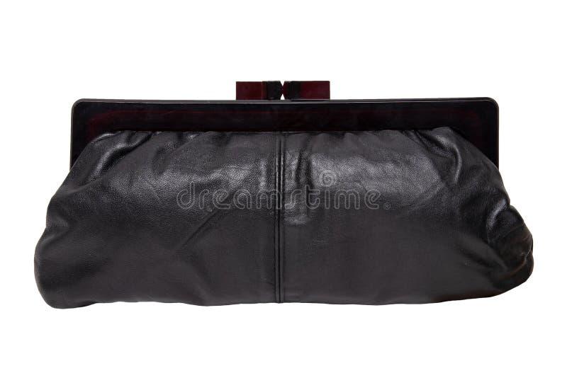 Sacs de cru Un sac à main élégant noir de dames des années '50 d'isolement sur un fond blanc Un sac à main élégant pour la soirée image stock