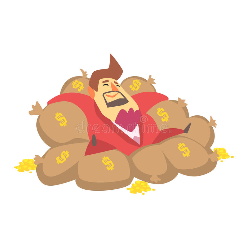 Sacs de Rich Man Laying On Money de millionnaire remplis de pièces de monnaie d'or, situation drôle de mode de vie de personnage  illustration stock