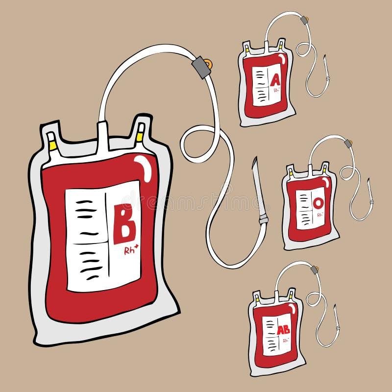 Sacs de sang pour la bande dessinée de donation illustration de vecteur