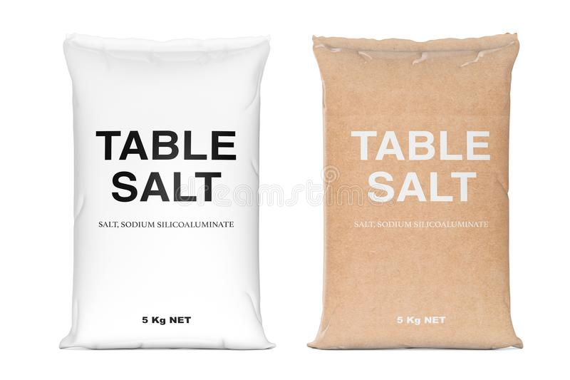 Sacs de sel de table rendu 3d illustration stock