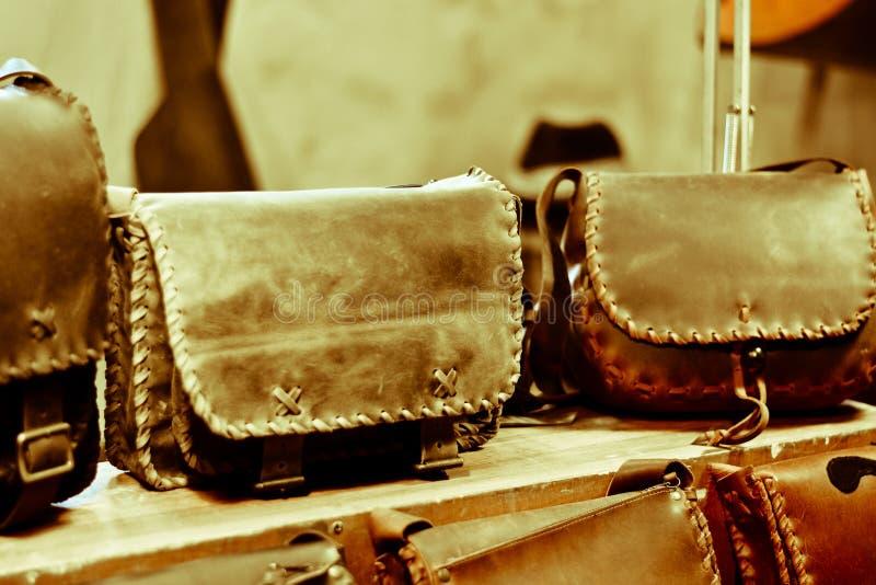 sacs en cuir main-ouvrés photo stock