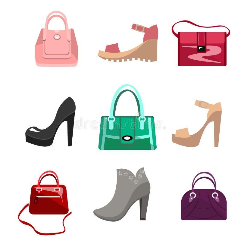 Sacs et chaussures de femmes de mode illustration stock