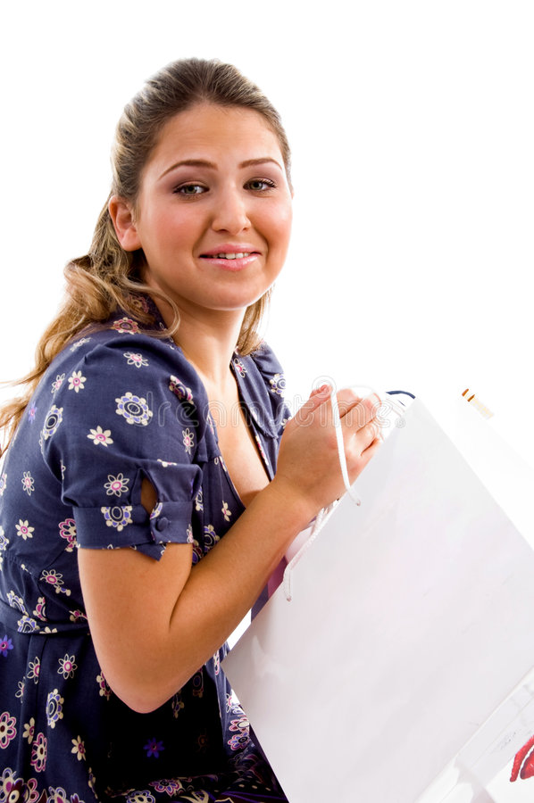 sacs retenant le côté modèle d'achats de pose photographie stock