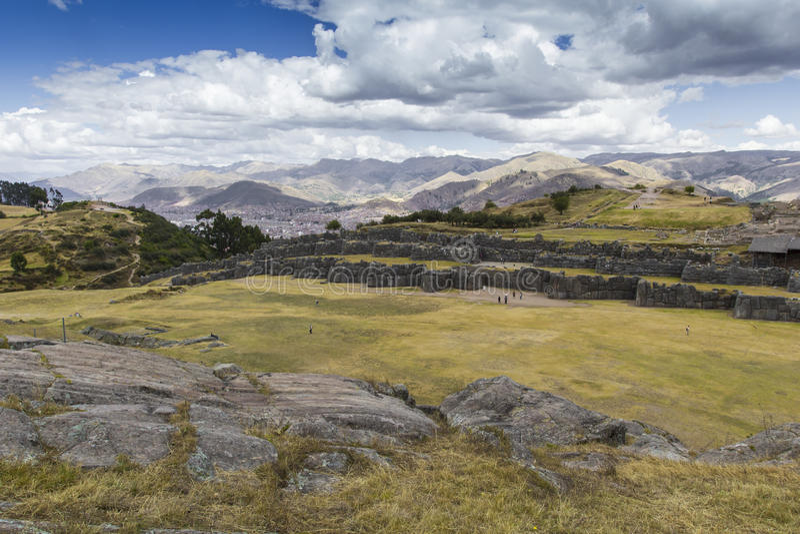 Sacsayhuaman墙壁的石制品,在库斯科,秘鲁 免版税图库摄影