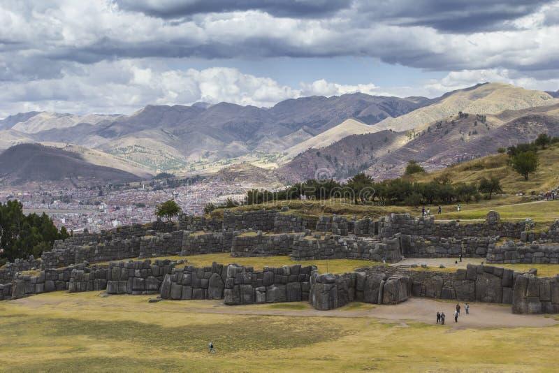 Sacsayhuaman墙壁的石制品,在库斯科,秘鲁 免版税库存图片