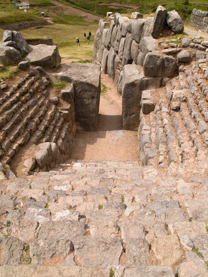 sacsayhuaman fästninginca royaltyfria bilder