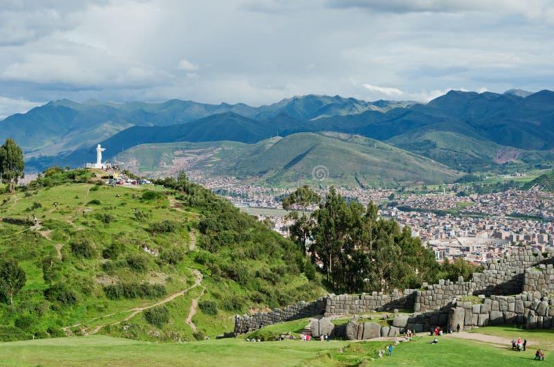 Sacsayhuaman, ruínas do Inca em Cusco, Peru fotografia de stock
