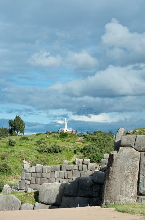 Sacsayhuaman, ruínas do Inca em Cusco, Peru foto de stock
