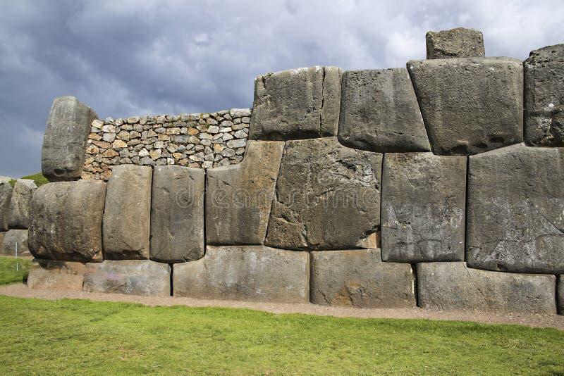 Sacsayhuaman väggar, forntida incafästning nära Cuzco Peru fotografering för bildbyråer