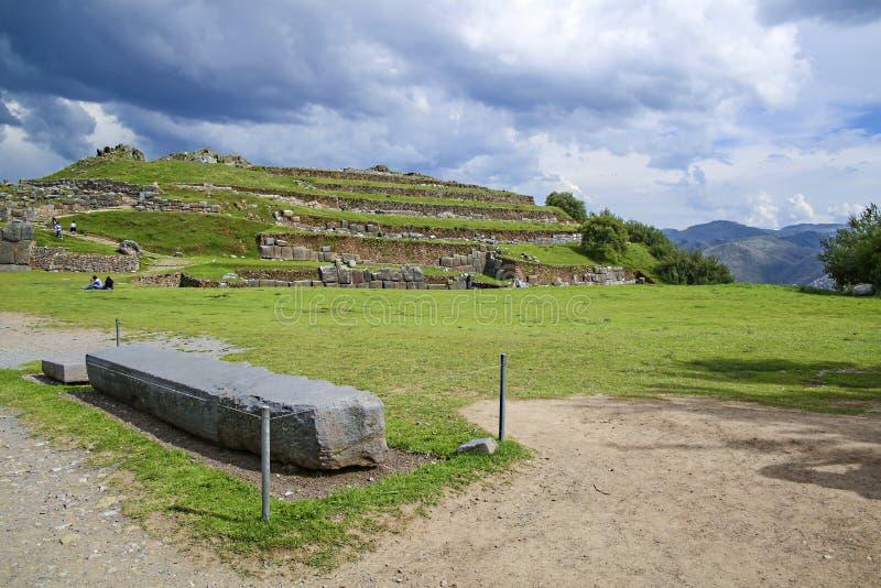 Sacsayhuaman väggar, forntida incafästning nära Cuzco, Peru arkivfoton