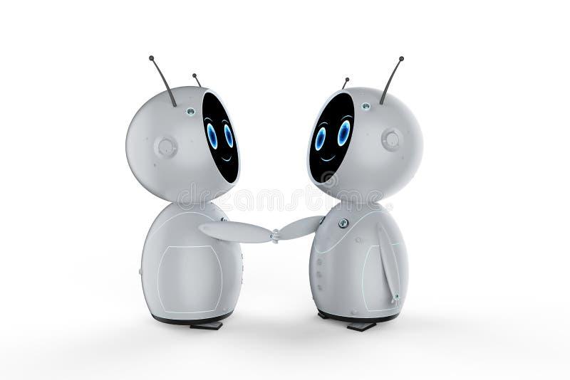 Sacudida amistosa de la mano del robot ilustración del vector