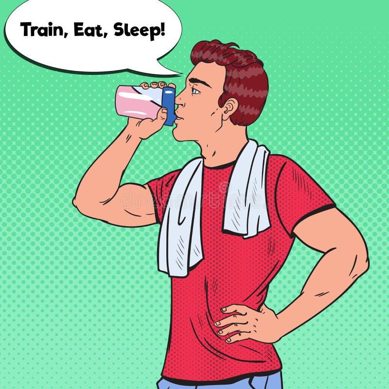 Sacudida de Art Bodybuilder Man Drinking Protein del estallido Suplementos de la nutrición libre illustration
